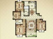 F户型, 4室2厅2卫1厨, 建筑面积约148.00平米