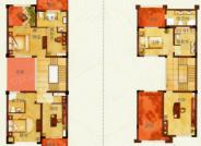 D户型, 5室2厅3卫1厨, 建筑面积约350.07平米
