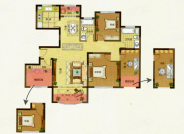 G户型, 4室2厅2卫1厨, 建筑面积约126.00平米