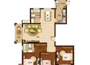 A户型1, 3室2厅2卫1厨, 建筑面积约143.00平米