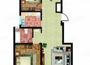 92㎡户型, 2室2厅1卫1厨, 建筑面积约92.00平米