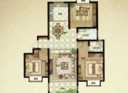 G户型, 3室2厅2卫1厨, 建筑面积约136.00平米