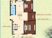 C户型, 3室2厅1卫, 建筑面积约107.00平米