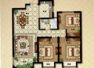 E户型, 3室2厅1卫1厨, 建筑面积约120.00平米