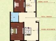 A户型, 2室2厅1卫, 建筑面积约90.00平米