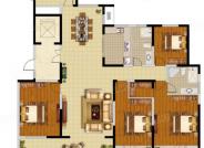 E户型, 4室2厅2卫1厨, 建筑面积约190.00平米