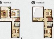 C户型, 3室2厅2卫, 建筑面积约99.00平米