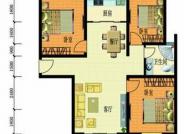 3室2厅1厨1卫户型, 3室2厅1卫, 建筑面积约89.24平米